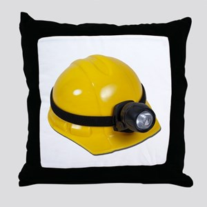 Hard Hat with Lamp Throw Pillow