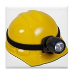 Hard Hat with Lamp Tile Coaster