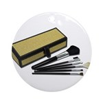 Makeup Brushes Wicker Box Ornament (Round)