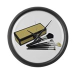 Makeup Brushes Wicker Box Large Wall Clock