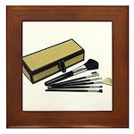 Makeup Brushes Wicker Box Framed Tile