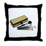 Makeup Brushes Wicker Box Throw Pillow