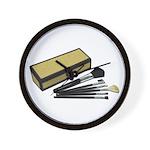 Makeup Brushes Wicker Box Wall Clock