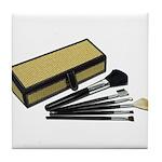 Makeup Brushes Wicker Box Tile Coaster