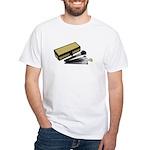 Makeup Brushes Wicker Box White T-Shirt