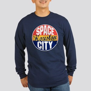 Houston Vintage Label Long Sleeve Dark T-Shirt