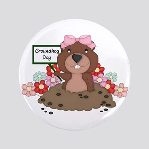 "Groundhog Girl 3.5"" Button"