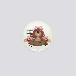 Groundhog Girl Mini Button