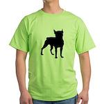 Boston Terrier Silhouette Green T-Shirt