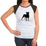 Boston Terrier Silhouette Women's Cap Sleeve T-Shi