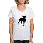 Boston Terrier Silhouette Women's V-Neck T-Shirt