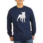 Boston Terrier Silhouette Long Sleeve Dark T-Shirt