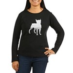 Boston Terrier Silhouette Women's Long Sleeve Dark