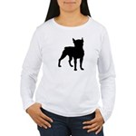 Boston Terrier Silhouette Women's Long Sleeve T-Sh