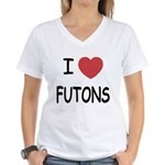 I heart futons Women's V-Neck T-Shirt