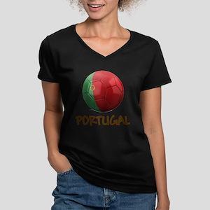 Team Portugal Women's V-Neck Dark T-Shirt