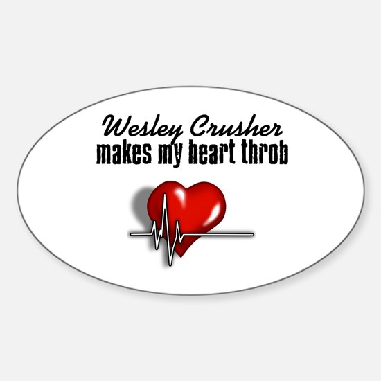 Wesley Crusher makes my heart throb Sticker (Oval)