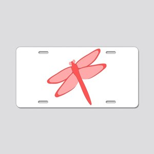 Red Dragonfly Design Aluminum License Plate