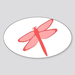 Red Dragonfly Design Sticker (Oval)