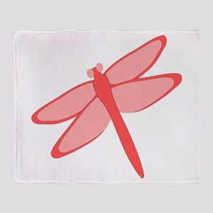 Red Dragonfly Design Throw Blanket