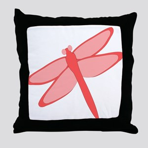 Red Dragonfly Design Throw Pillow