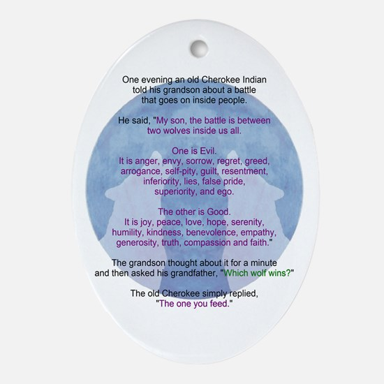 Wolf Wisdom Ornament (Oval)