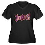 Jinkies Women's Plus Size V-Neck Dark T-Shirt