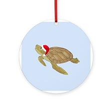 Santa - Christmas Turtle Ornament (Round)