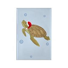Santa - Christmas Turtle Rectangle Magnet