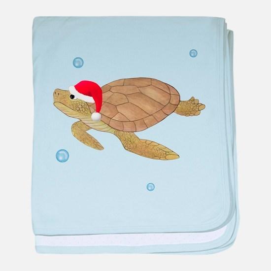 Santa - Christmas Turtle baby blanket