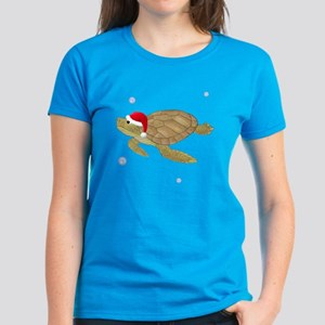 Santa - Christmas Turtle Women's Dark T-Shirt