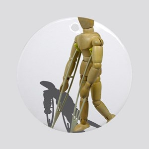 Model Walking with Crutches Ornament (Round)