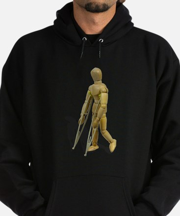 Model Walking with Crutches Hoodie (dark)