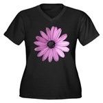 Purple Daisy Women's Plus Size V-Neck Dark T-Shirt