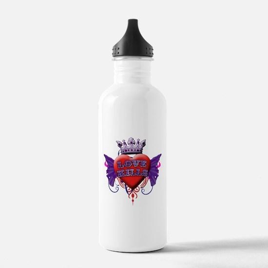 Love Kills Tattoo Style Water Bottle
