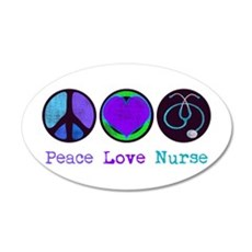 Peace Love Nurse 22x14 Oval Wall Peel