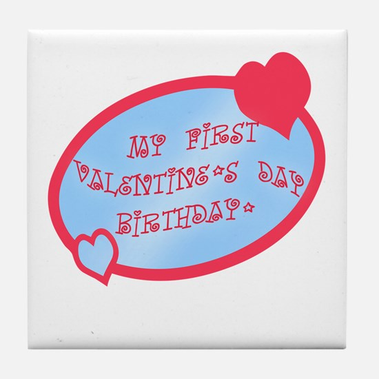 First Valentine Birthday BLUE Tile Coaster