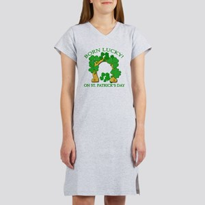 Born Lucky on St. Pats Day Women's Nightshirt