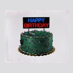 Geek Birthday Cake Throw Blanket