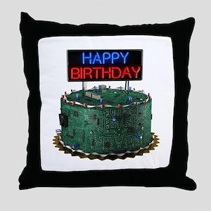 Geek Birthday Cake Throw Pillow