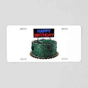 Geek Birthday Cake Aluminum License Plate