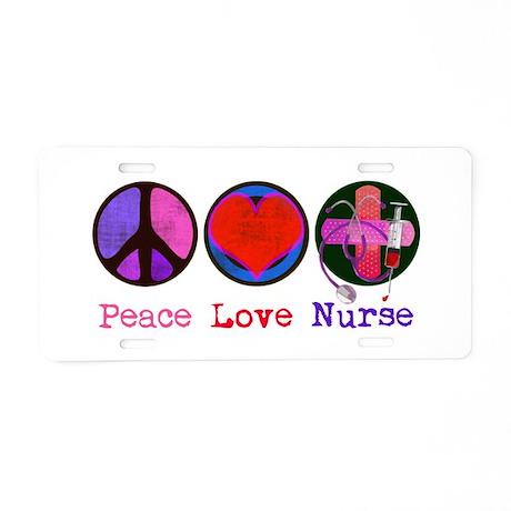Peace Love Nurse Aluminum License Plate