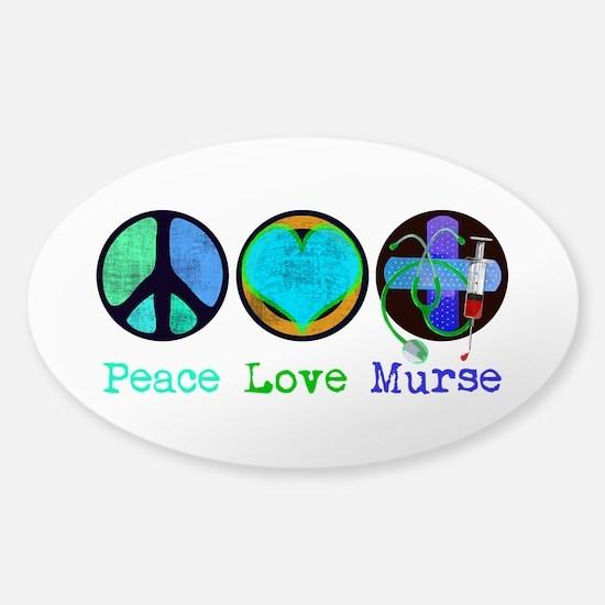 Peace Love Murse Sticker (Oval)