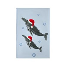 Santa - Whale Rectangle Magnet
