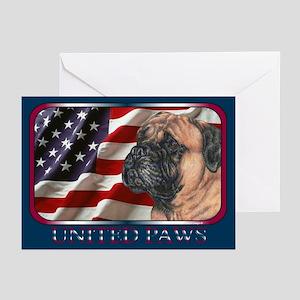 Bullmastiff Dog Flag Greeting Cards(6)
