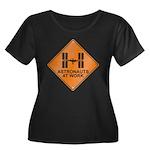 ISS / Work Women's Plus Size Scoop Neck Dark T-Shi