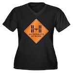 ISS / Work Women's Plus Size V-Neck Dark T-Shirt