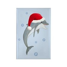 Santa - Dolphin Rectangle Magnet