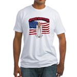 Space Shuttle and Flag Fitted T-Shirt