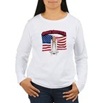 Space Shuttle and Flag Women's Long Sleeve T-Shirt
